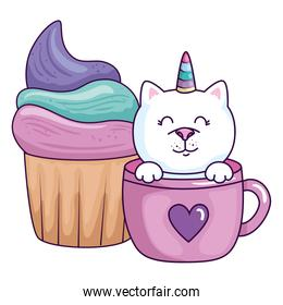 cute cat unicorn fantasy in cup with cupcake