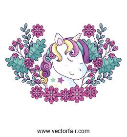 head of cute unicorn fantasy with flowers decoration