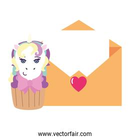 cupcake of head of cute unicorn with envelope