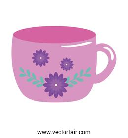 cup ceramic with flowers decoration
