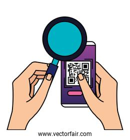 hands using smartphone with scan code qr and magnifying glass
