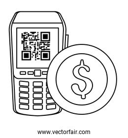 dataphone with scan code qr and coin