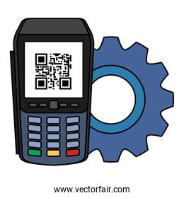 dataphone with scan code qr and gear