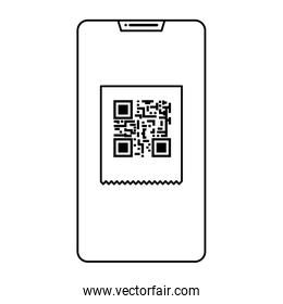 smartphone device with scan code qr