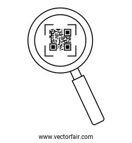 classic qr code in magnifying glass line style icon