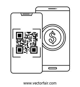 smartphones with scan code qr and coin