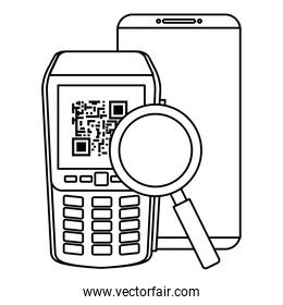 dataphone with smartphone and magnifying glass