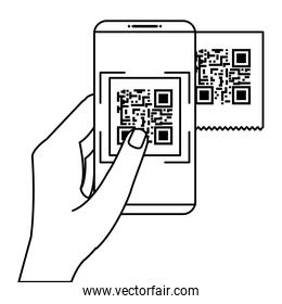 hand using smartphone with scan code qr