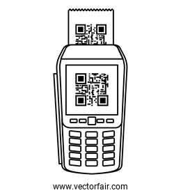 dataphone with scan code qr line style design