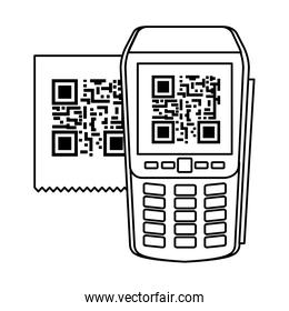 dataphone with scan code qr line style icon
