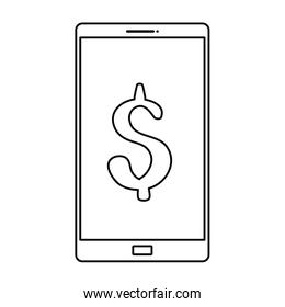 smartphone with symbol dollar line style icon