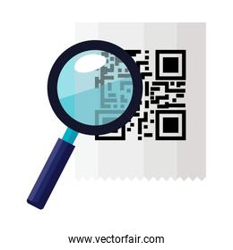 classic qr code with magnifying glass isolated icon