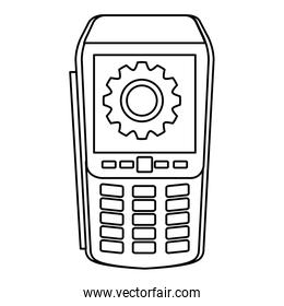 dataphone with gear line style icon