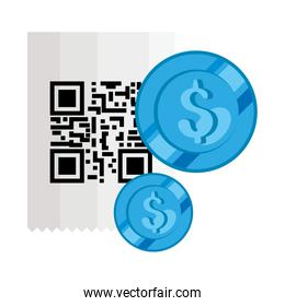 classic qr code with coins isolated icon