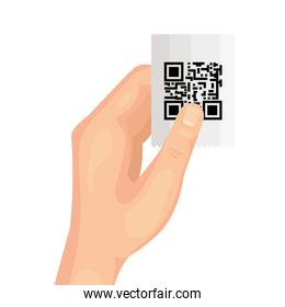 hand and voucher with code qr