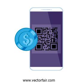 smartphone with scan code qr and coin