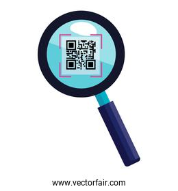 isolated qr code in magnifying glass