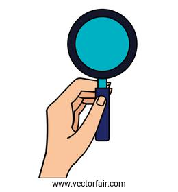 hand with magnifying glass instrument isolated icon