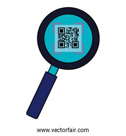 classic qr code in magnifying glass