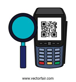 dataphone with scan code qr and magnifying glass
