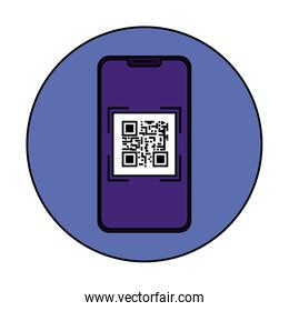 smartphone device with scan code qr in frame circular