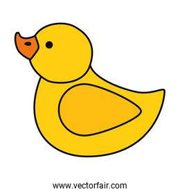 cute duck rubber toy isolated icon