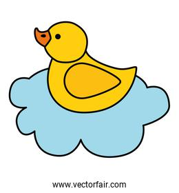 cute duck rubber in cloud isolated icon
