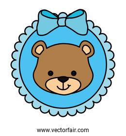 face of cute teddy bear in lace frame