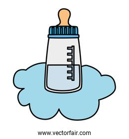 baby bottle milk in cloud isolated icon