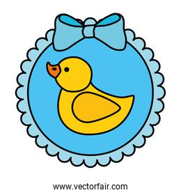 cute duck rubber in lace frame