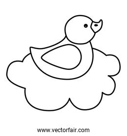 cute duck rubber in cloud line style icon