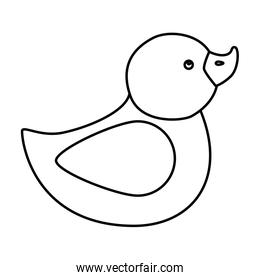 cute duck rubber line style icon