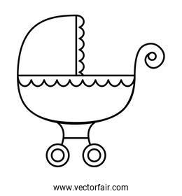 baby cart transportation line style icon