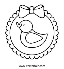 cute duck rubber in lace frame line style icon