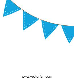 garlands blue hanging decoration isolated icon