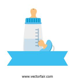 baby bottle milk with pacifier isolated icons
