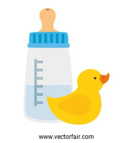 baby bottle milk with rubber duck isolated icons