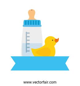 baby bottle milk with duck rubber isolated icon