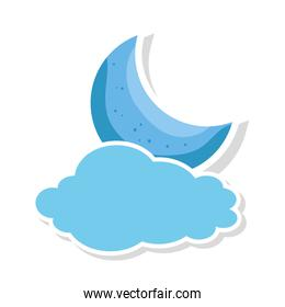 cute moon with cloud isolated icon