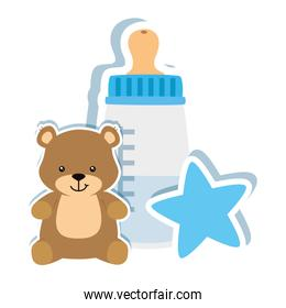 baby bottle milk with bear and star