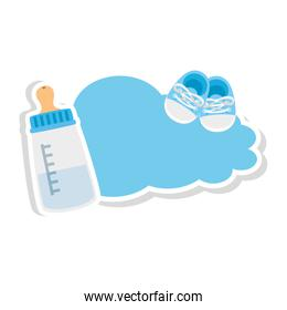 baby bottle milk with shoes in cloud