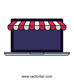 Isolated laptop with tent vector design