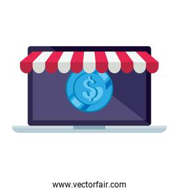 Isolated laptop with tent and coin vector design