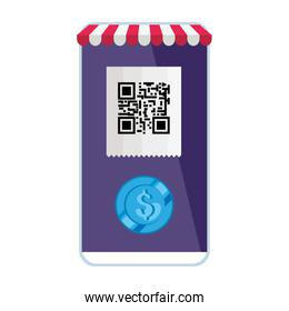 qr code and coin inside smarpthone vector design