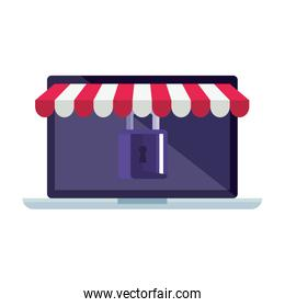 Isolated laptop with tent and padlock vector design