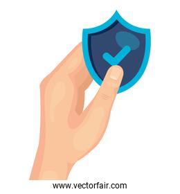 hand holding shield with check mark of security system vector design