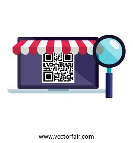 qr code inside laptop and lupe vector design