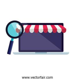 Isolated laptop with tent and lupe vector design