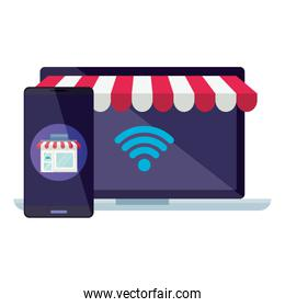 Isolated laptop with tent and smartphone vector design