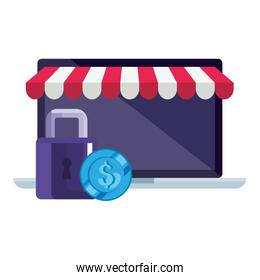 Isolated laptop with tent coin and padlock vector design